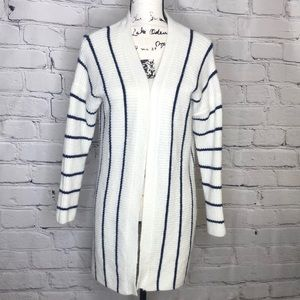 Forever 21 White with Blue Striped Open Front Cardigan - size medium